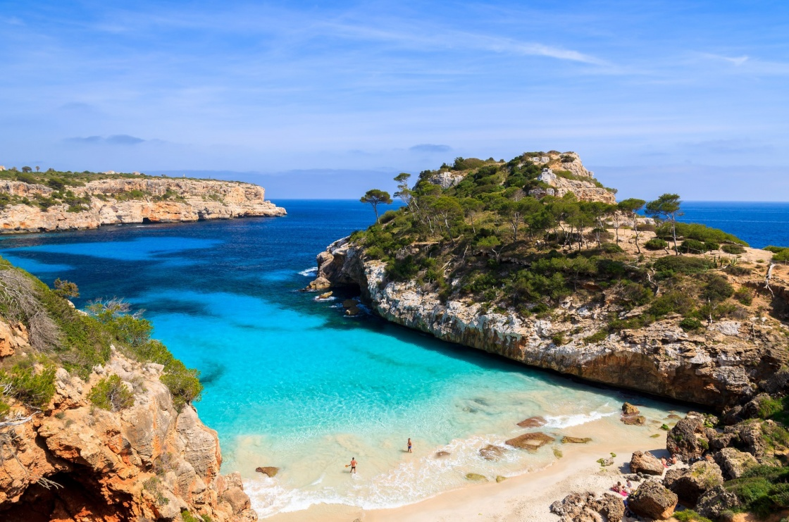 'Beautiful beach bay azure sea water, Cala des Moro, Majorca island, Spain' - Balearic Islands