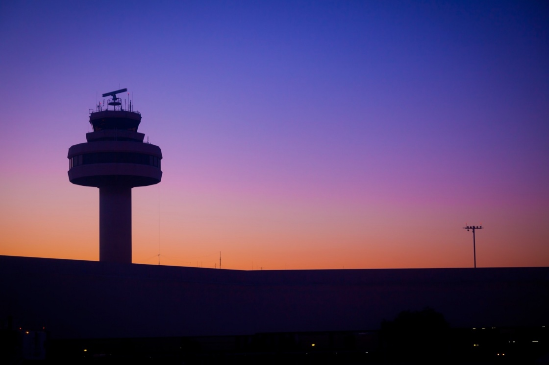 'Airport Control Tower at a Beautiful Sunset' - Balearic Islands